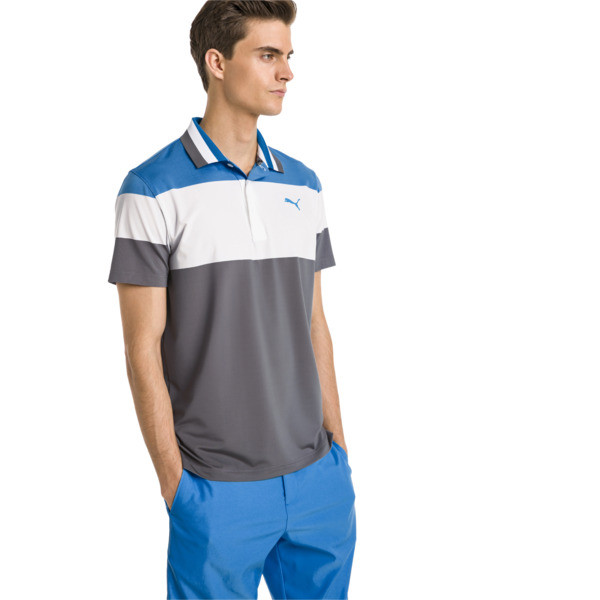 Nineties Men's Golf Polo, Bleu Azur, large