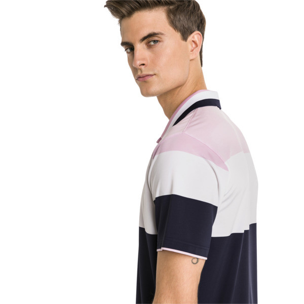 Nineties Men's Golf Polo, Pale Pink, large