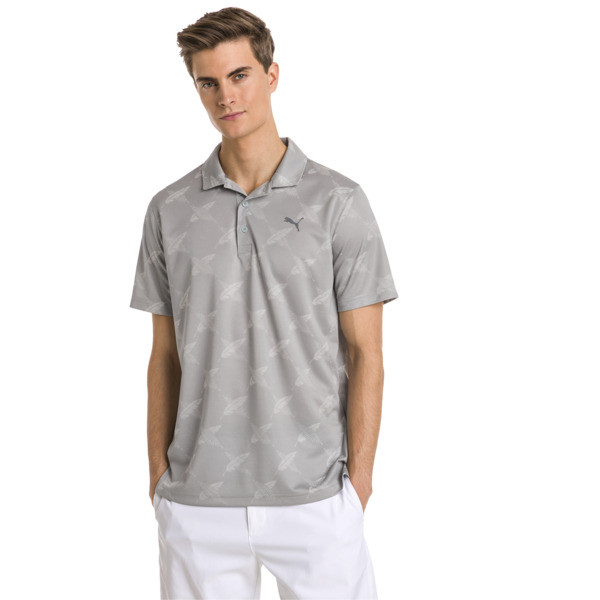 AlterKnit Palms Men's Golf Polo, Quarry, large