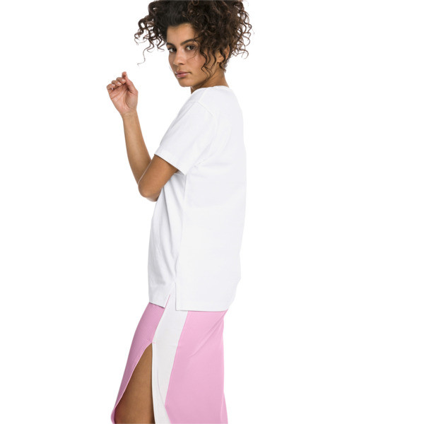 Short Sleeve Women's Tee, Puma White-PALE PINK, large