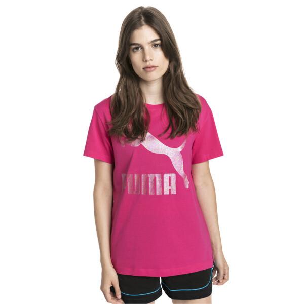 T-shirt met korte mouwen voor dames, Fuchsiapaars-1, large