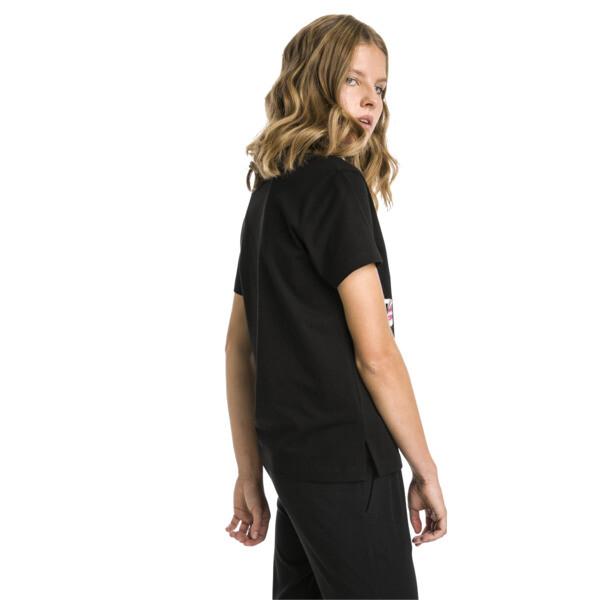 T-shirt met korte mouwen voor dames, Cotton Black-logo fill, large