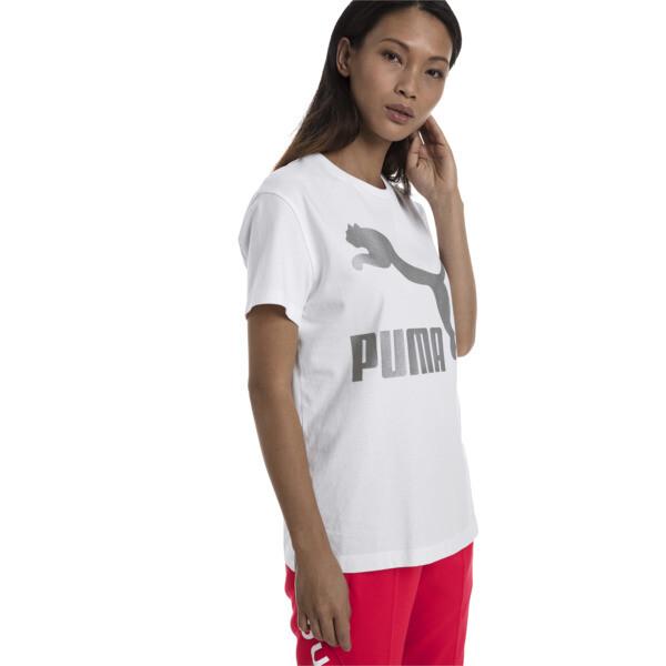 T-shirt met korte mouwen voor dames, Puma White-Metaal, large