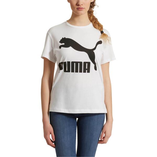 Classics Women's Logo Tee, Puma White-black, large