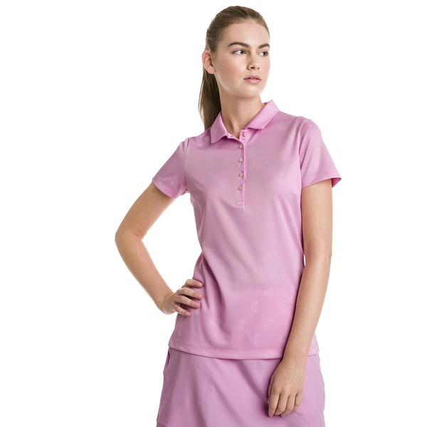 Burst Into Bloom Damen Golf Polo, Pale Pink, large