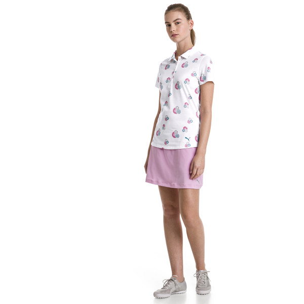 Blossom Women's Golf Polo, bright white-fuchsia purple, large