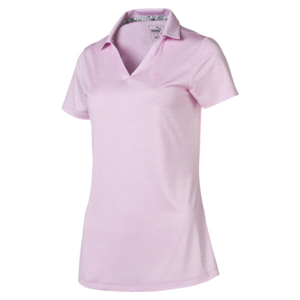Women's Super Soft Polo, Pale Pink Heather, large
