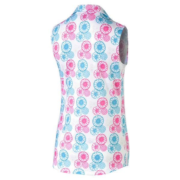Blossom Sleeveless Women's Golf Polo, Bright White-Fuchsia purple, large