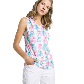 Thumbnail 1 of Blossom Sleeveless Women's Golf Polo, Bright White-Fuchsia purple, medium