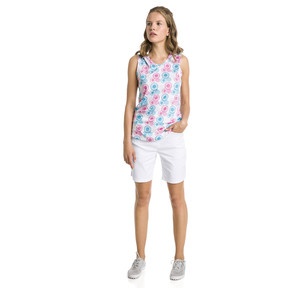 Thumbnail 3 of Blossom Sleeveless Women's Golf Polo, Bright White-Fuchsia purple, medium