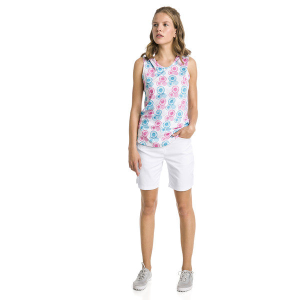 Polo de golf sans manche Blossom pour femme, Bright White-Fuchsia purple, large