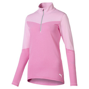 Thumbnail 1 of evoKNIT 1/4 Zip Women's Golf Pullover, Pale Pink Heather, medium