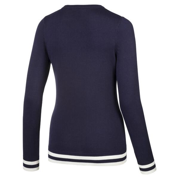 Chrevron golfsweater voor vrouwen, Nachtblauw, large