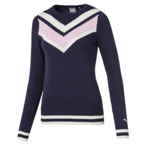 Thumbnail 4 van Chrevron golfsweater voor vrouwen, Nachtblauw, medium
