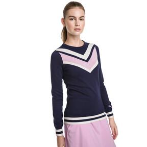 Thumbnail 1 van Chrevron golfsweater voor vrouwen, Nachtblauw, medium