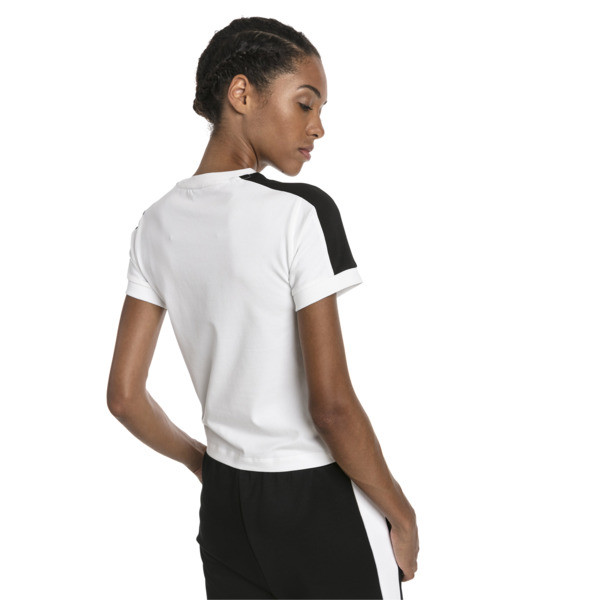 Klasyczna wąska koszulka damska T7, Puma White-black, obszerny