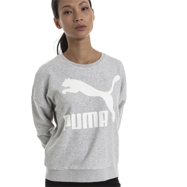 Classics Logo Women's Crewneck Sweatshirt, Light Gray Heather, large