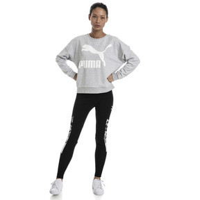 Thumbnail 5 of Classics Logo Women's Crewneck Sweatshirt, Light Gray Heather, medium