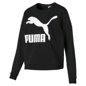 Thumbnail 1 of Classics Logo Women's Crewneck Sweatshirt, Puma Black-white, medium