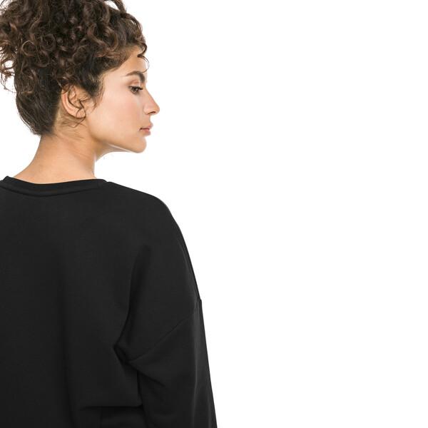 Classics Logo Women's Crewneck Sweatshirt, Puma Black-white, large