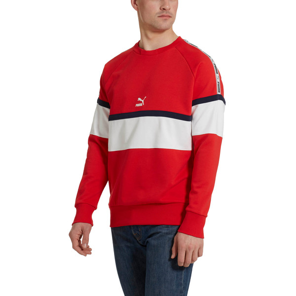 PUMA XTG Men's Long Sleeve Crewneck Sweatshirt, High Risk Red, large