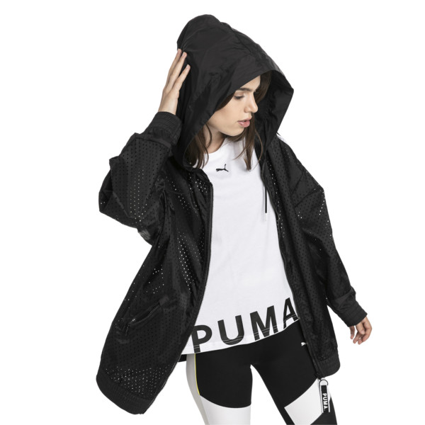 Chase Woven Full Zip Hooded Women's Jacket, Puma Black, large