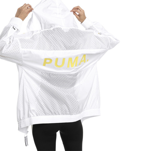 Chase Woven Full Zip Hooded Women's Jacket, Puma White, large