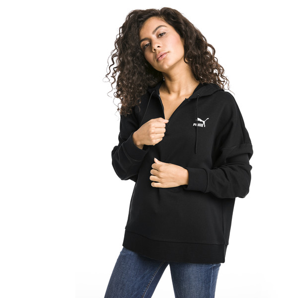 XTG Half Zip Women's Hoodie, Cotton Black, large