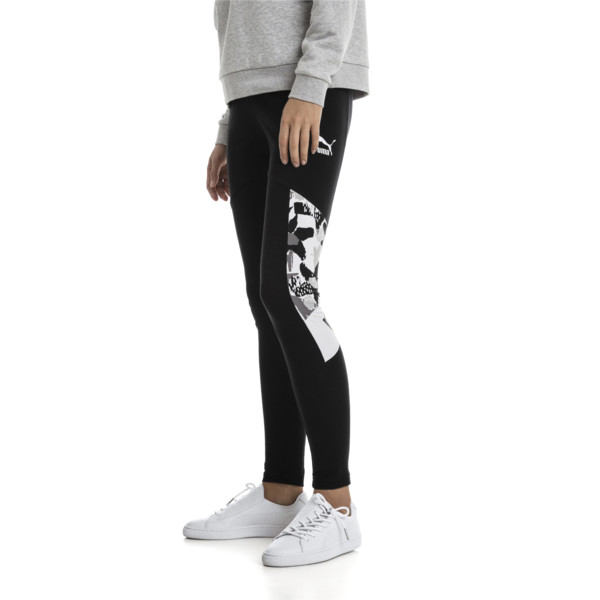 Leggings de mujer XTG, Cotton Black-Puma White, grande