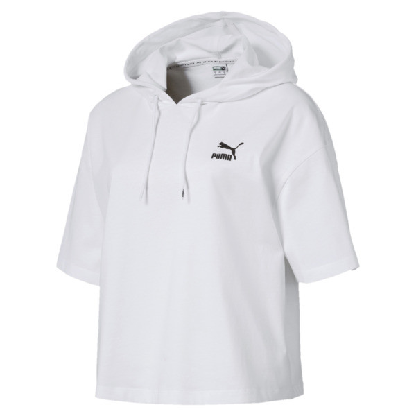 Classics Short Sleeve Hooded Women's Top, Puma White, large