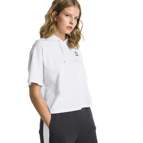 Thumbnail 2 of Classics Short Sleeve Hooded Women's Top, Puma White, medium