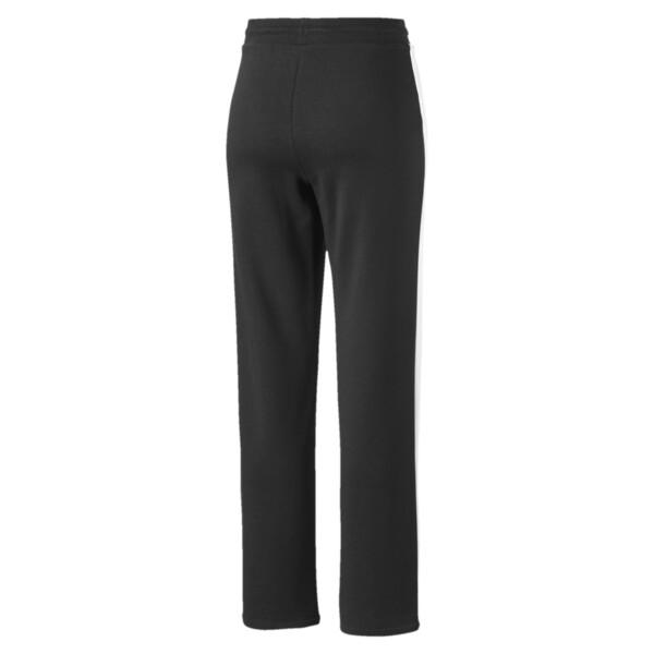 Damskie spodnie Classics T7 proste, Cotton Black-Puma White, obszerny
