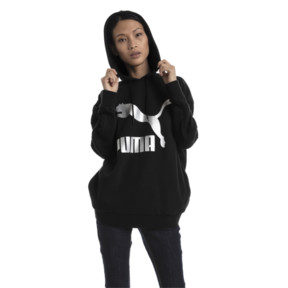 Thumbnail 5 of Classics Logo T7 Women's Hoodie, Cotton Black-metal, medium