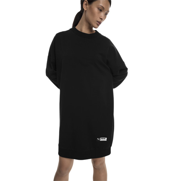 Trailblazer Long Crew Neck Women's Pullover, Cotton Black, large