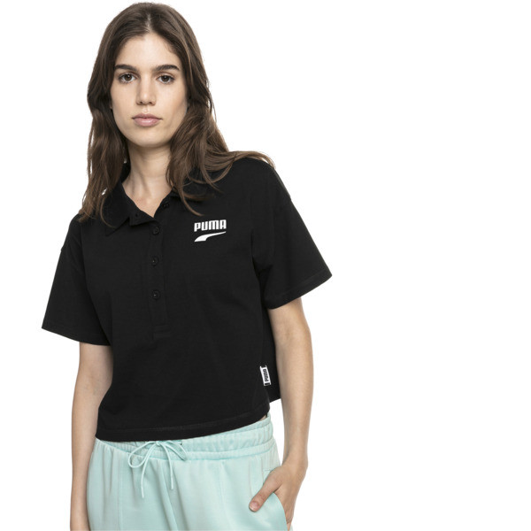 Downtown Women's Polo Shirt, Puma Black, large