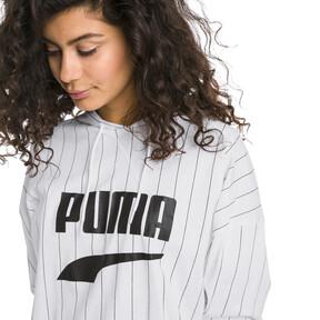 Thumbnail 2 of Downtown Striped Women's Hoodie, Puma White-AOP, medium