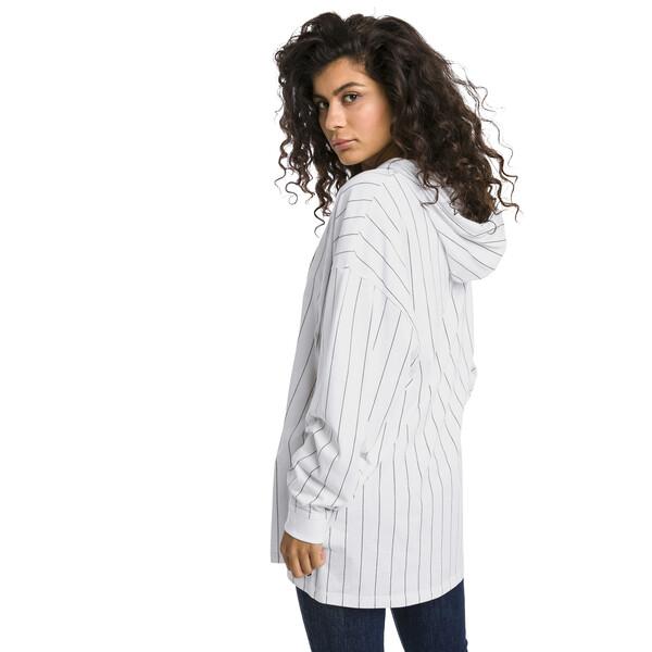 Downtown Striped Women's Hoodie, Puma White-AOP, large