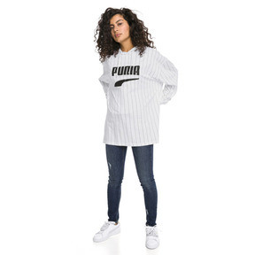 Thumbnail 5 of Downtown Striped Women's Hoodie, Puma White-AOP, medium