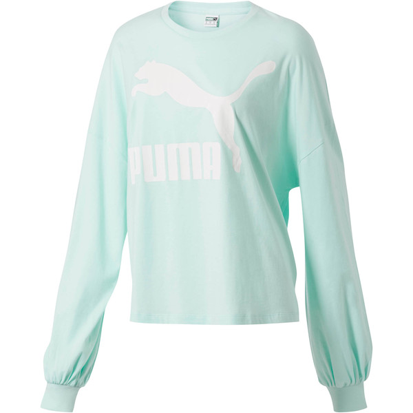 Classics Women's Long Sleeve Logo Top, Fair Aqua, large