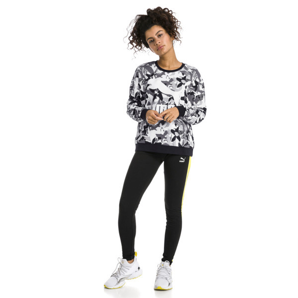 Classics Logo All-Over Printed Women's Sweater, Cotton Black, large