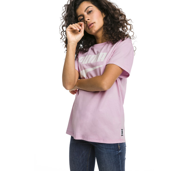 Downtown Short Sleeve Women's tee, Pale Pink, large