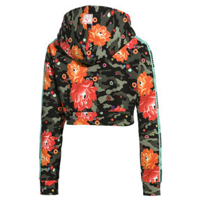 Thumbnail 4 of PUMA x SUE TSAI Damen Cropped Hoodie, - Black- Peony AOP, medium