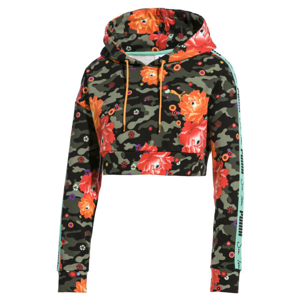 PUMA x SUE TSAI Damen Cropped Hoodie, - Black- Peony AOP, large