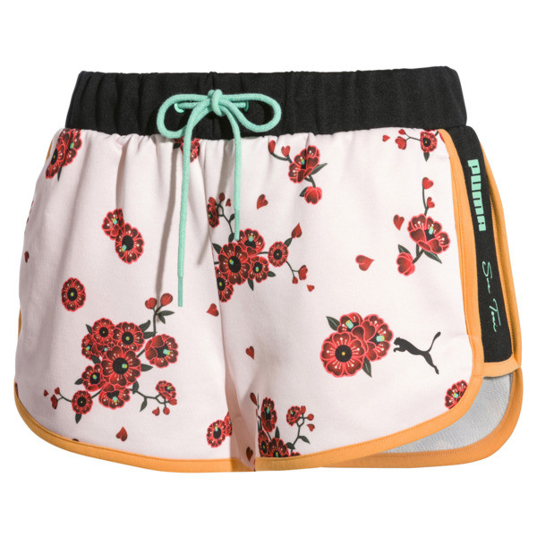PUMA x SUE TSAI Women's Shorts, Orange Pop-AOP Pearl-Cherry, large