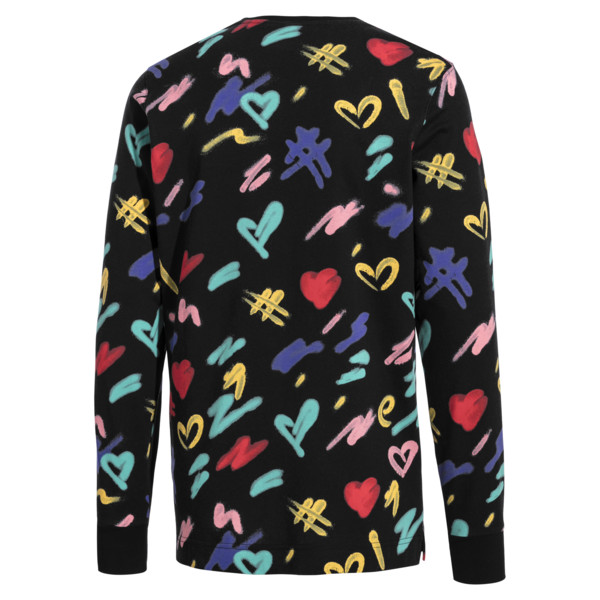 PUMA x BRADLEY THEODORE Long Sleeve Men's Tee, Puma Black-AOP, large