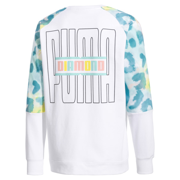 PUMA x DIAMOND Crew Neck Pullover, Puma White-AOP, large