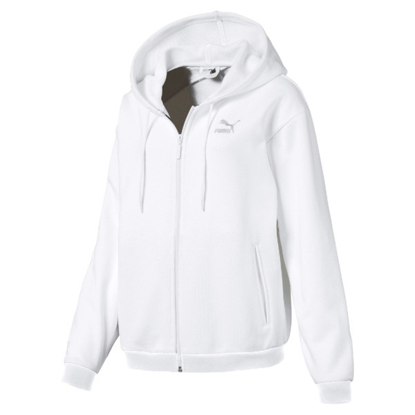 Crush Full Zip Women's Hoodie, Puma White, large