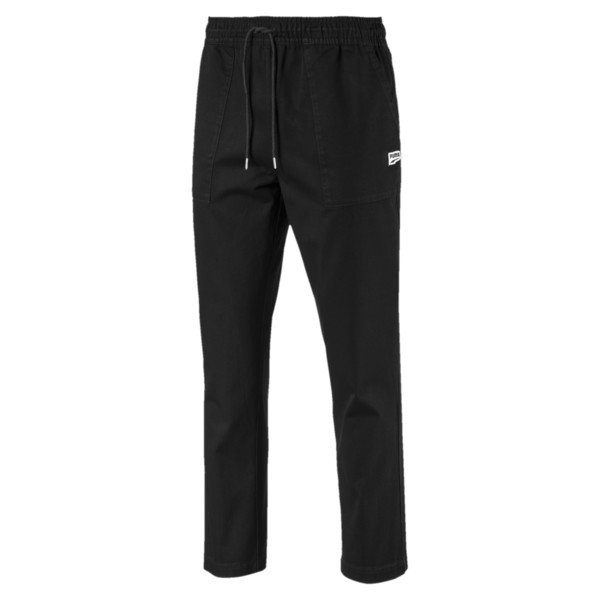 Downtown Twill Knitted Men's Sweatpants, Cotton Black, large