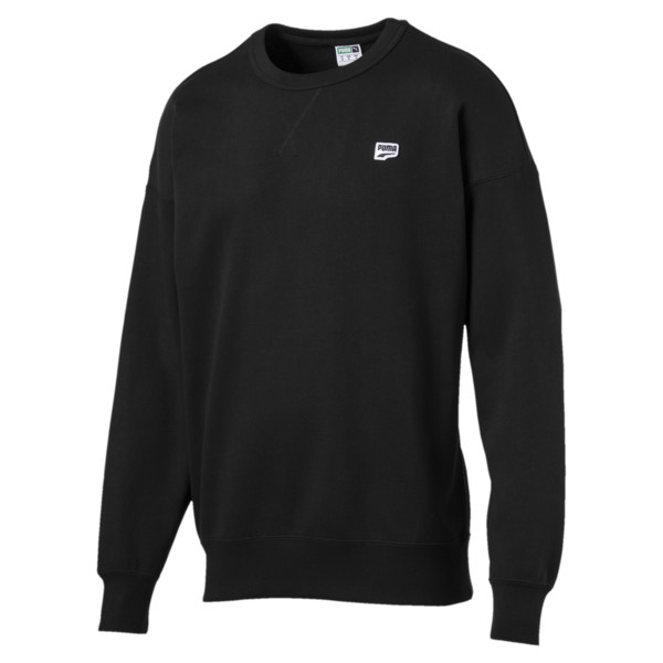 Downtown Long Sleeve Men's Crewneck Sweatshirt, Cotton Black, large