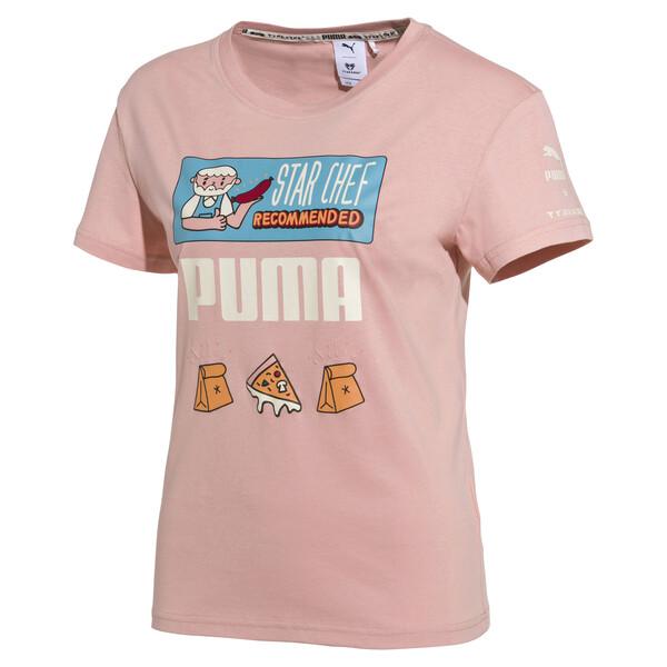 PUMA x TYAKASHA Women's T-Shirt, Peach Beige, large